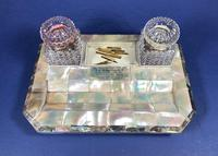 Victorian Mother of Pearl & Abalone Inkstand