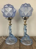Pair of Art Deco Walther & Sohne Glass Table Lamp, Rewired & Pat Tested c.1930 (9 of 9)
