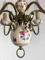 Vintage French Large Porcelain & Brass 6 Arm Flemish Chandelier (8 of 11)
