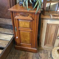 Antique Edwardian Satinwood Bedside Table Night Stand (6 of 7)