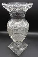 Large Early 20th Century Ovoid Cut Glass Vase