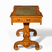 Victorian Walnut Marquetry Writing Table attributed to Edward Holmes Baldock (11 of 17)