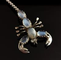 Antique Moonstone Scorpion Brooch, Sterling Silver (7 of 13)