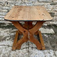Antique Swedish Pine X-frame Trestle Table (11 of 21)