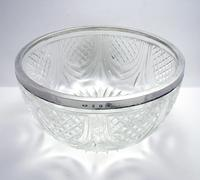Edwardian 1905 Solid Sterling Silver Mounted Cut Glass Large Fruit Bowl Dish English Antique (3 of 7)
