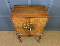 Floral Painted Burr Walnut Cabinet on Stand (15 of 15)