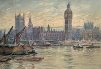 William Henry Harford - Houses of Parliament Riverscape Painting 19th Century (4 of 10)