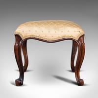 Antique Dressing Stool, English, Walnut, Upholstery, Boudoir Seat, Regency c.1820 (6 of 12)