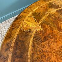 Large Figured Walnut Circular Antique Dining Table (8 of 8)