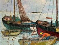 Marion Coker Leigh on Sea Fishing Boats Seascape Sailing Oil Painting (6 of 15)