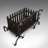 Antique Fire Basket, Andirons, Cast Iron, Fireside, Grate, Fire Dogs, Victorian (7 of 9)