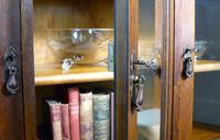 Oak 3 Door 1930s Vintage Bookcase with Keys (21 of 22)