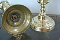Pair of Unusual Acorn Victorian Brass Candlesticks Round Base Pushers c.1860 (4 of 6)
