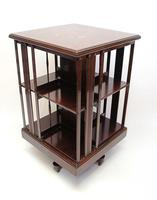 Good quality,  Edwardian inlaid Walnut 2 tier revolving bookcase (13 of 21)