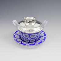 Early Victorian Blue & White Overlay Glass Butter Dish Silver Cow Cover (3 of 15)