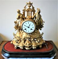 Lovely 1860's French Spelter Striking Figurine Mantel Clock by Japy Frères (2 of 7)
