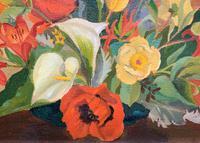 Stunning Original 1960s Vintage / Retro Floral Still Life Oil on Canvas Painting (7 of 11)