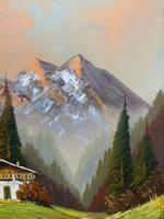 The Alpine Chalet - Swiss School - A Vintage Snow-capped Landscape Oil Painting (5 of 12)