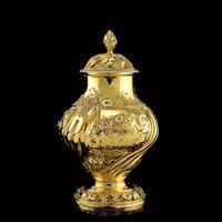 Antique Georgian Solid Silver Gilt Tea Caddy / Sugar Caster, Baronet Coat of Arms (heathcote) - Samuel Taylor 1753 (8 of 27)