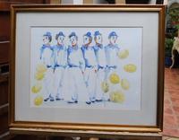 Watercolour Clowns with Tellow Balloons Listed Irish Artist Judith Caulfield Walsh (3 of 10)