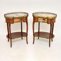 Pair of French Marble Top Kidney Side Tables c.1930