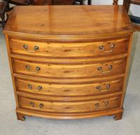 1960's Yew Wood Bow Front Chest of Drawers