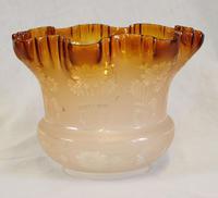 Antique Frilled Tulip Oil Lamp Shade Burnt Orange Colour