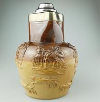 Large & Handsome Stoneware Salt Glaze Sprigged Beer Jug 19th Century (4 of 9)