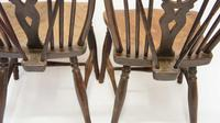 Near Pair of Victorian Windsor Wheel Back Kitchen Chairs in Beech & Elm (7 of 12)