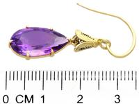 9.58ct Amethyst & 15ct Yellow Gold Drop Earrings - Antique c.1890 (7 of 9)