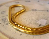 Vintage Pocket Watch Chain 1970 12ct Gold Plated Snake Link Albert With T Bar (6 of 10)