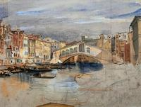 Large Early 1900s Venetian Venice Landscape Watercolour Study Sketch Painting (2 of 14)