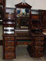 Large 1900's Mahogany & Rosewood Dressing Table with Inlay (2 of 5)