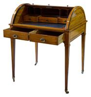 Satinwood Tambour Topped Desk c.1890 (2 of 10)