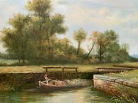 Superb Large Vintage Gilt-Framed Landscape Oil Painting of Barge on the Canal (5 of 13)