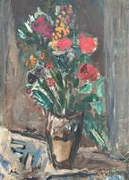 Large Rustic 19th Century French Impressionist Still Life Floral Oil Painting - Minor TLC (3 of 12)