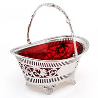 Silver Plated Boat Shaped Silver Basket with Cranberry Glass Liner (2 of 7)