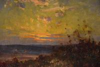 """Oil Painting Pair by William F. Burchell """"Sunset"""" (2 of 3)"""