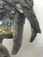 Fine French Vintage 20th Century Gilt Bronze Eagle on Marble Base Sculpture (14 of 26)