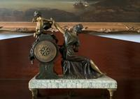 Beautiful 19thc French 3-piece 8-day Gilt-bronzed Spelter Garniture Mantle Clock (11 of 16)