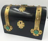 Charles Asprey Gothic Revival Ebonised Box Cask Malachite Mounts c.1865 (2 of 7)