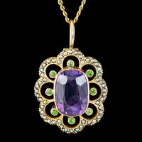 Antique Edwardian Suffragette Pendant Necklace Amethyst Peridot Pearl 9ct Gold c.1910 (2 of 8)