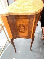 French Walnut Commode with Marble Top & Metal Marquetry (5 of 7)
