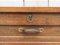 Oak Tambour Front Filing Bedside Cabinet (5 of 7)
