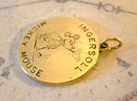 Pocket Watch Chain Ingersoll Mickey Mouse Fob 1930s Original Brass Fob (7 of 8)