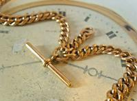 Victorian Pocket Watch Chain 1890 Antique 12ct Rose Rolled Gold Albert & T Bar (7 of 11)