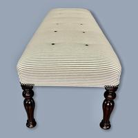 Long and Low Buttoned Footstool in Ticking (7 of 8)