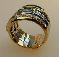 Stunning 18ct Gold, Diamond & Emerald Ring 17/n in Original Box 20th Century (4 of 10)
