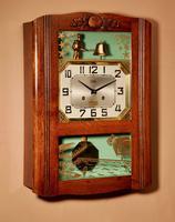 Italian Interest Automaton Large Oak Signed Odo Striking Wall Clock (6 of 11)