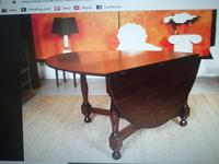 Solid Oak Table with flaps and four chairs. All very substantial in weight! (2 of 9)